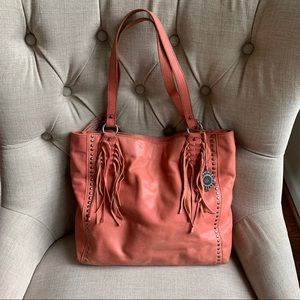 The sak pink leather tote